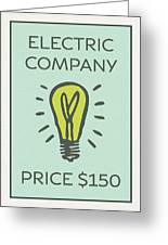 Electric Company Vintage Monopoly Board Game Theme Card Greeting Card