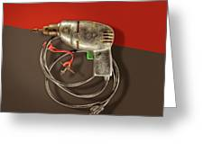 Electric Drill Motor, Green Trigger On Colored Paper Greeting Card