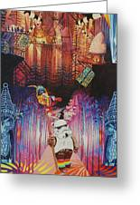 Electric Forest-people Building Houses In The Trees Greeting Card
