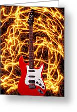 Electric Guitar With Sparks Greeting Card