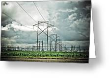 Electric Lines And Weather Greeting Card
