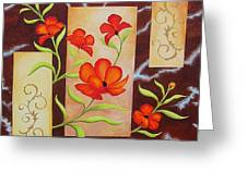 Electric Red Poppies Greeting Card