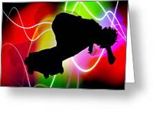 Electric Spectrum Skateboarder Greeting Card by Elaine Plesser