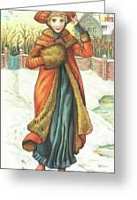 Elegant Lady In Snow, Christmas Card Greeting Card