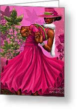Elegant Pink And Green Greeting Card