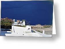 Elegant Restaurant In Santorini, Greece  Greeting Card