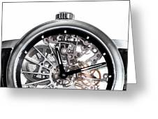 Elegant Watch With Visible Mechanism, Clockwork Close-up. Greeting Card