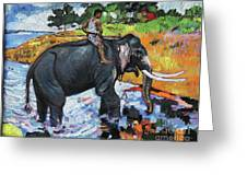 Elephant And Man Greeting Card