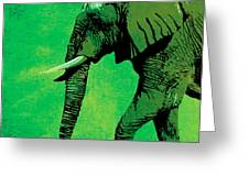 Elephant Animal Decorative Green Wall Poster 4 Greeting Card