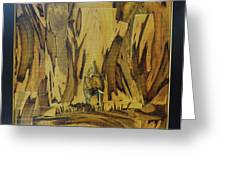 Elephant Artwork With Wooden Waste Greeting Card