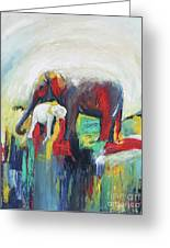 Elephant Baby And Mother Greeting Card
