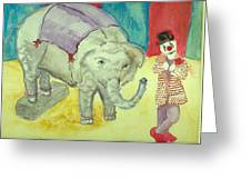 Elephant Betty And Clown Greeting Card