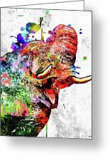 Elephant Colored Grunge Greeting Card