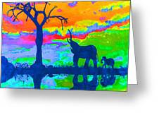 Elephant Reflections Greeting Card