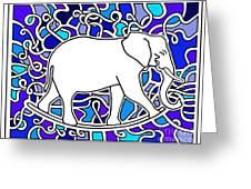 Elephant Rocker Blue Magoo Greeting Card