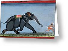 Elephant & Trainer, C1750 Greeting Card