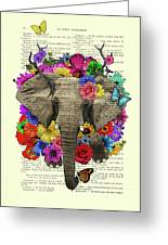 Elephant With Colorful Flowers Illustration Greeting Card
