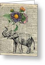 Elephant With Flowers Greeting Card