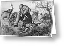 Elephants And Tiger, 1890 Greeting Card