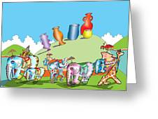 Elephants And Urns On A Hill Greeting Card