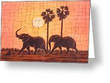 Elephants In Dry Heat Greeting Card