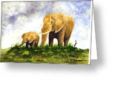 Elephants - Mother And Baby Greeting Card