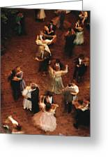 Elevated View Of Ballroom Dancers Greeting Card