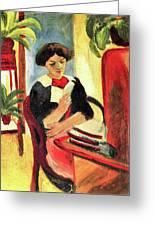 Elisabeth At Her Desk 2 By August Macke Greeting Card