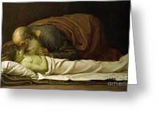 Elisha Raising The Son Of The Shunamite Greeting Card by Frederic Leighton