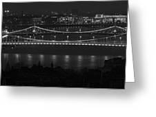 Elizabeth And Liberty Bridges Budapest Bw Greeting Card