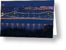 Elizabeth And Liberty Bridges Budapest Greeting Card
