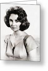 Elizabeth Taylor, Vintage Hollywood Legend By John Springfield Greeting Card