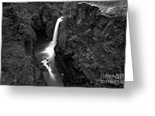 Elk Falls In The Canyon Black And White Greeting Card