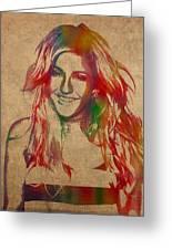 Ellie Goulding Watercolor Portrait Greeting Card