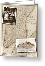 Ellis Island Vintage Map Child Immigrants Greeting Card