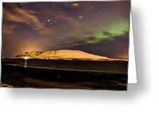 Elv Or Troll And Viking With A Sword In The Northern Light Greeting Card