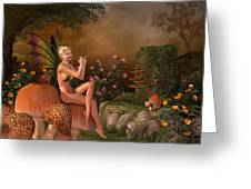 Elven Beautiful Woman With Flute Greeting Card