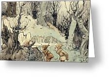 Elves In A Wood Greeting Card by Arthur Rackham