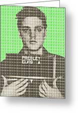 Elvis Army Mug Shot - Green Greeting Card