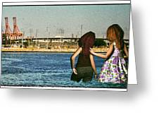 Knee Deep Looking At The Port Greeting Card