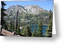 Emerald Bay With Mountain Greeting Card