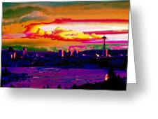 Emerald City Sunset Greeting Card