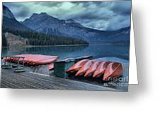 Emerald Lake Canoes Greeting Card