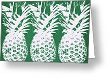 Emerald Pineapples- Art By Linda Woods Greeting Card