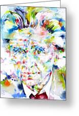 Emil Cioran - Watercolor Portrait Greeting Card