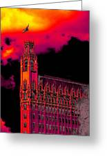 Emily Morgan Hotel With Fiery Sky Greeting Card