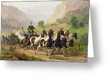 Emperor Franz Joseph I Of Austria Being Driven In His Carriage With His Wife Elizabeth Of Bavaria I Greeting Card