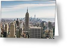 Empire State Building And Manhattan Skyline, New York City, Usa Greeting Card