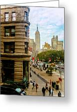 Empire State Building - Crackled View Greeting Card