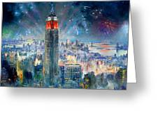 Empire State Building In 4th Of July Greeting Card